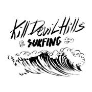 Kill Devil Hills Surfing Lettering brush ink sketch handdrawn serigraphy print - stock illustration