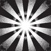 Retro dotwork sunburst or explosion with rays - stock illustration