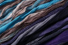 Fabric with multicolor stripe background closeup texture Stock Photos