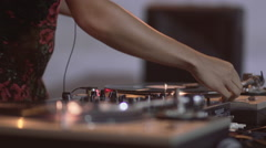 Attractive DJ Spinning - stock footage