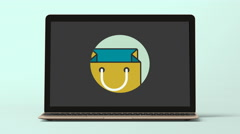 4K - Shopping bag logo icon symbol - stock footage