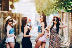 Beautiful girls in the city Stock Photos
