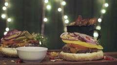 Burger set rotate on a board Stock Footage