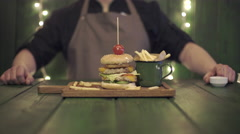 Chef makes burger set. Time lapse Stock Footage