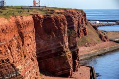Sedimentary rock cliffs from Helgoland Stock Photos