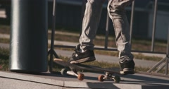 Skateboarder does flip, nice weather Stock Footage