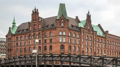 Famous Speicherstadt warehouse district in Hamburg, Germany Stock Footage