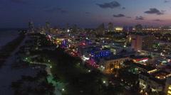 Aerial drone panorama Miami Beach at night 4k Stock Footage