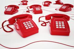 3D rendering of red telephone Stock Illustration