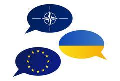 Conversation dialogue bubbles between European Union (EU), North Atlantic Tre Stock Illustration
