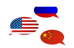 Conversation dialogue bubbles between Russian Federation, China and United St - stock illustration
