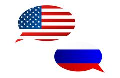 Conversation dialogue bubbles between United States of America (USA) and Russ - stock illustration