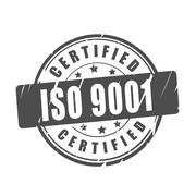 ISO 9001 certified vector illustration stamp - stock illustration