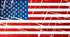 Tattered flag of United States of America, USA - vector graphics - stock illustration