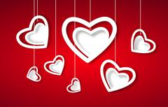 Beautiful white hearts on red paper - love concept Stock Illustration