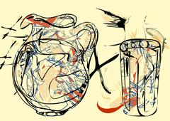 abstract pitcher - stock illustration
