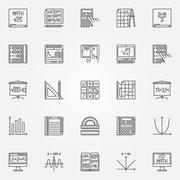 Math icons vector set - stock illustration