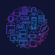 Video games round design - stock illustration