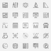 Education and school icons set Stock Illustration