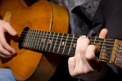 Acoustic guitar guitarist playing - stock photo