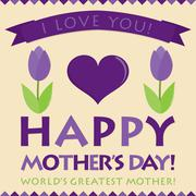 Retro style Mother's Day card in vector format. - stock illustration