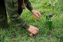 Installation of anti-personnel mine - stock photo