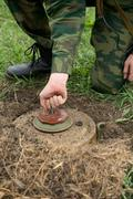 Neutralization of anti-personnel mines Stock Photos