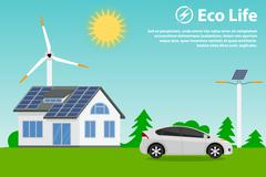 Preserving the environment and using renewable energy sources Stock Illustration