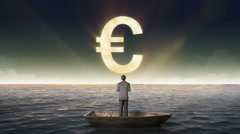 Rising Euro sign, currency, front of Businessman on a ship Arkistovideo
