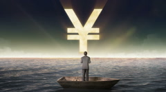 Rising Yen sign, currency, front of Businessman on a ship - stock footage