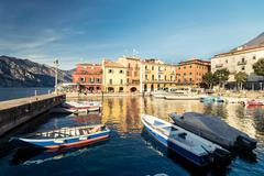 Malcesine is a small town on Lake Garda (Italy). - stock photo