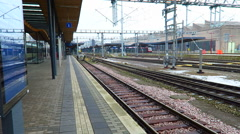 Luxembourg City, Luxembourg. Railway station tracks (Gare de Luxembourg). Stock Footage