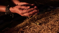 Unprocessed rice being poured from a woman's hands. slow motion Stock Footage