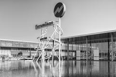 Symbol at the entrance of the Milan trade fair, Italy. - stock photo