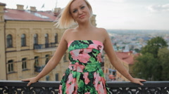 Young blond woman pose photographer outdoor Stock Footage