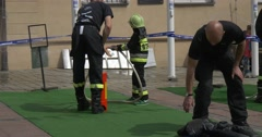 Firefighters Carry Out the Education of Children. Stock Footage