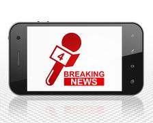News concept: Smartphone with Breaking News And Microphone on display Stock Illustration