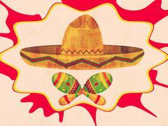 Grunge Sombrero and Maracas - stock illustration