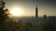 City view of Taipei at sunset, Taiwan Stock Footage