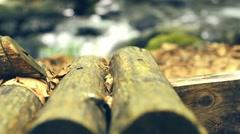 Handmade wodden   bridge Stock Footage