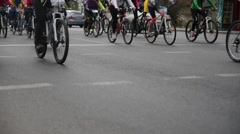 Bike ride. Many cyclists ride on the street Stock Footage
