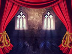 Room with Curtains and Old Window Stock Illustration