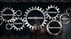 Gear with Challenge, Opportunity, Creative, Improvement, Success, 'INNOVATION' - stock footage