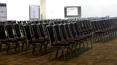 Empty conference hall with chairs at Canada Place hotel Stock Footage