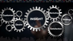 Gear with Customer, Desire, Satisfaction, Marketing, Strategy, touch 'INSIGHT' - stock footage