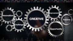 Gear with Challenge, Innovation, Opportunity, Improvement, Success, 'CREATIVE' - stock footage