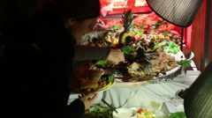 Food buffet luxury at restaurant - stock footage