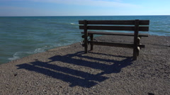 Bench on a pier Stock Footage