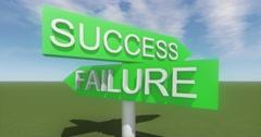 4k success & failure road sign against blue sky,timelapse cloud. Stock Footage