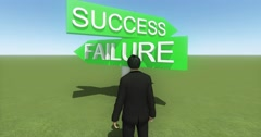4k businessman standing on the front of success & failure road sign. - stock footage